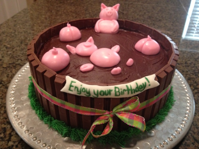 Cake Kit Kat Pigs : Cat s Cake Creations: Pigs in a Mud Bath-Happy Birthday ...