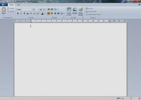Ventana de WordPad