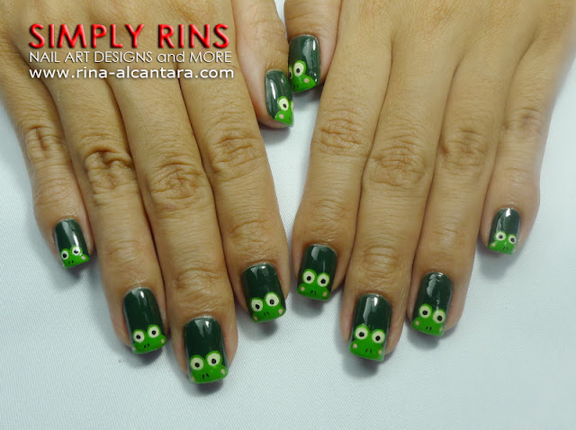 Nail art keroppi wannabes simply rins keroppi or frog nail art design prinsesfo Images