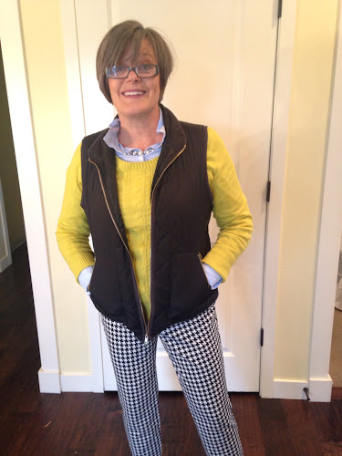 Fashion Friday, houndstooth pants, blue shirt