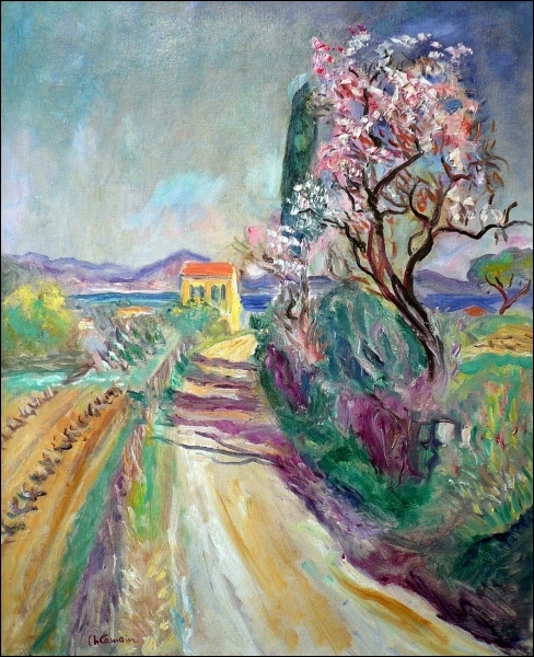 Charles Camoin - The road to Pinet flowered Almond