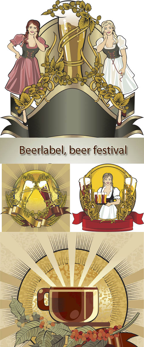 Stock: Beer label, beer festival