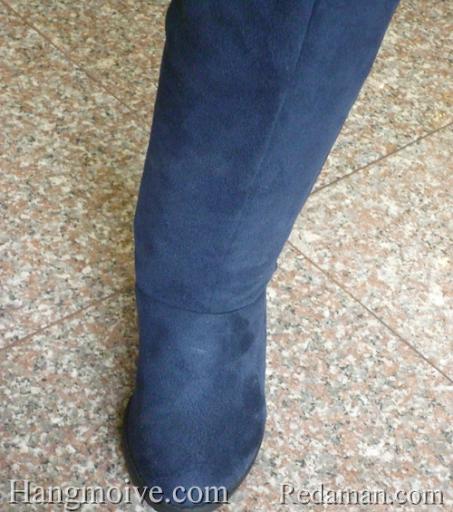 Boots đế xuồng, cao cổ quá đầu gối, chất liệu bằng da lộn, màu xanh 7 - Chỉ với 790.000đ