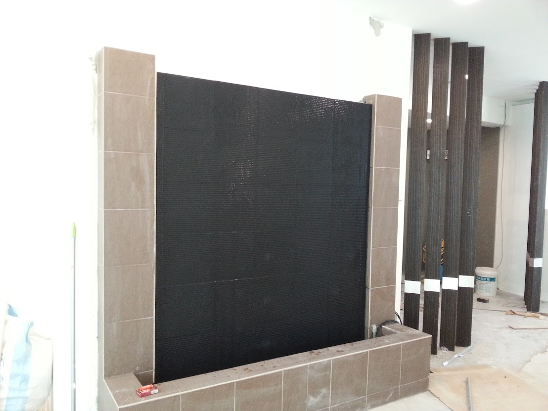 water feature wall completed