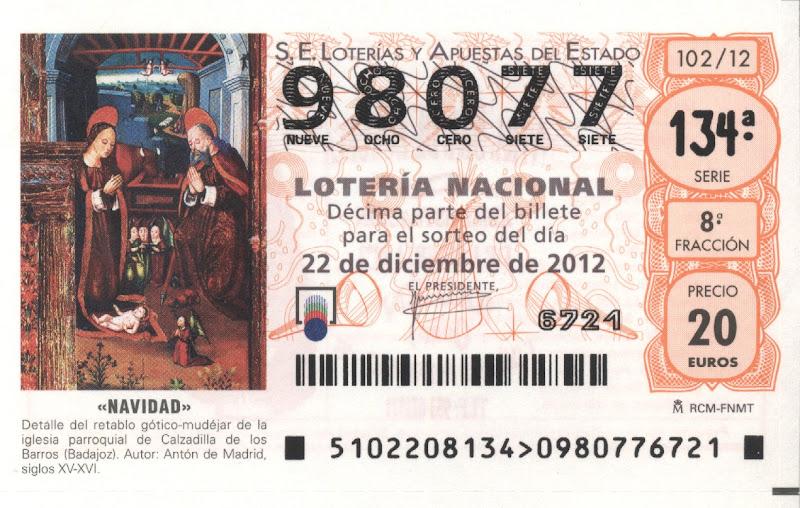 Número que jugamos en el Sorteo de Navidad 2012 - 98077
