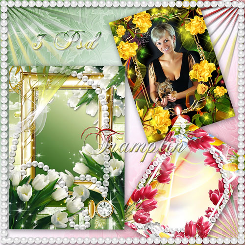 3 рамки с цветами – Подари мне праздник