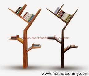 Kệ sách gỗ trang trí hình lá cây 07