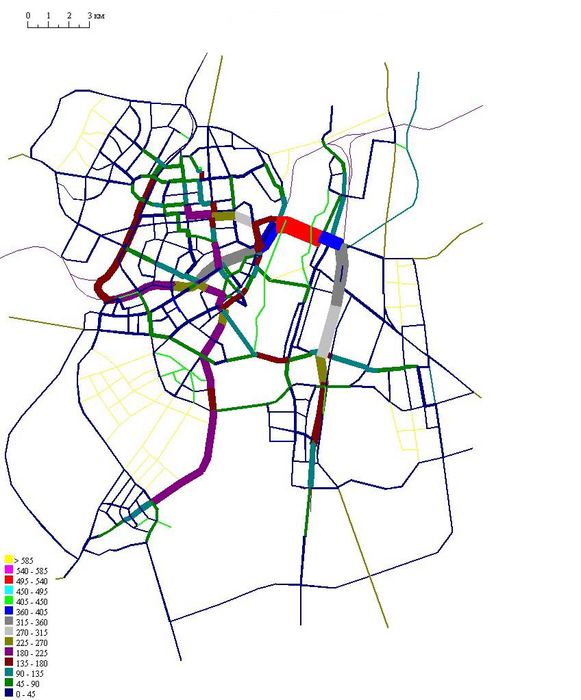 21 А. Рекомендуемый вариант . Сеть ГПТ совмещенная с картограммой пассажиропотоков по видам транспорта