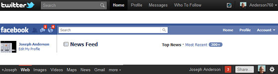 Twitter, FB, and Google Plus nav bars