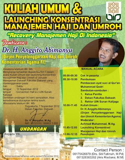 Kuliah Umum dan Launching Konsentrasi Manajemen Haji dan Umroh Jurusan Manajemen Dakwah Fakultas Dakwah UIN Sunan kalijaga Yogyakarta