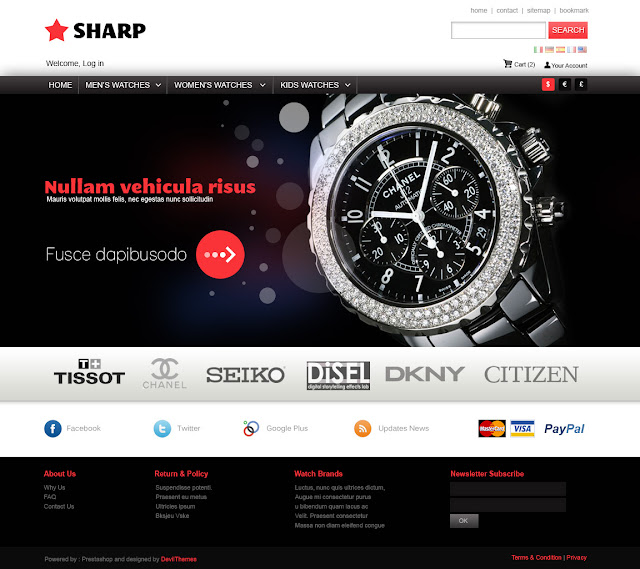 Prestashop Themes for Watch Store