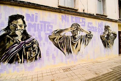 NI MUTS NI CECS NI SORDS - grafit d'en DKO contra la violència de gènere