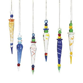 12 Beautiful Multicolor GLASS ICICLE Christmas Ornaments HOLIDAY Tree DECOR