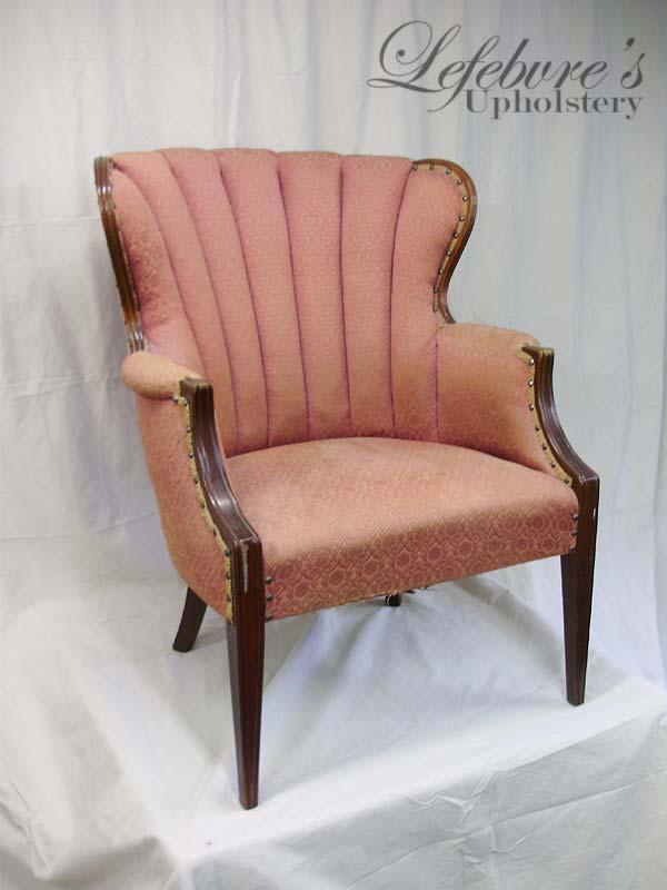 Lefebvre's Upholstery: Fan-Back Chair - Blue & White Stripe