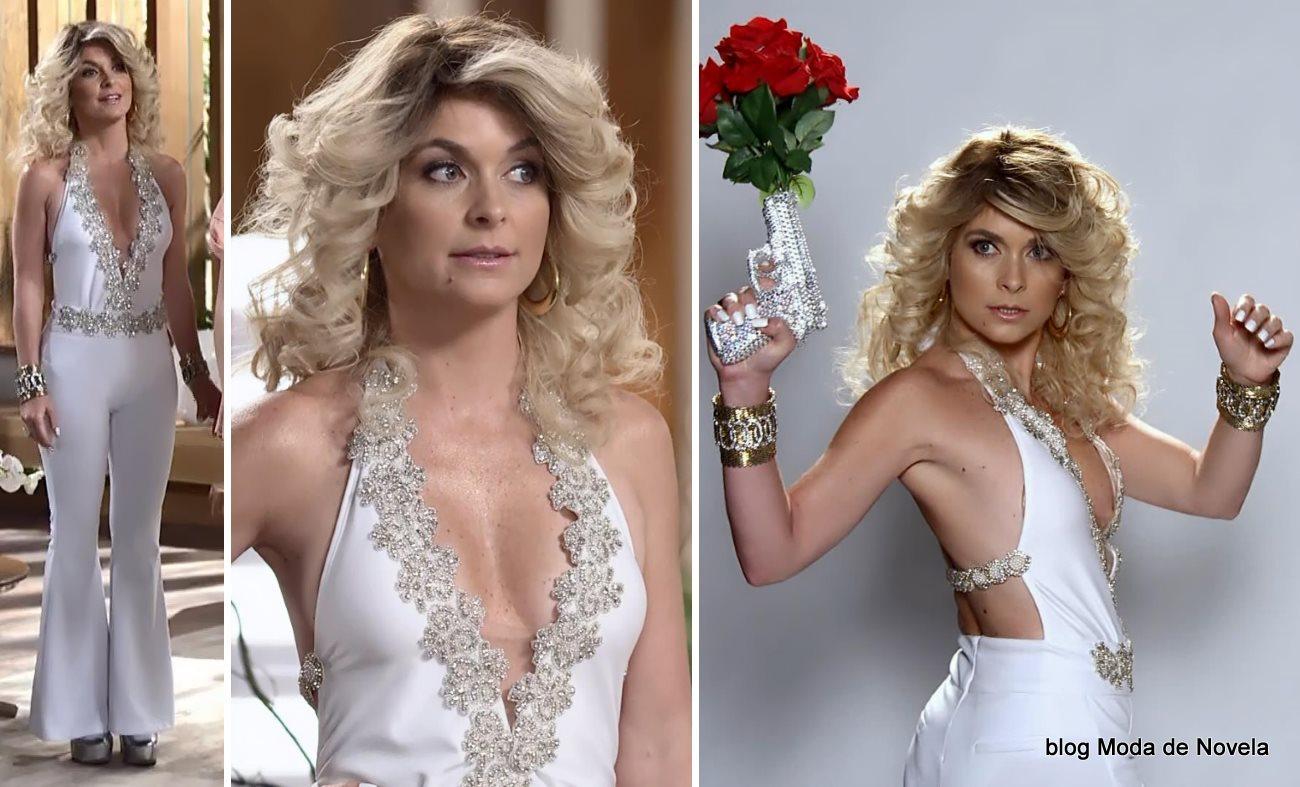 moda da novela Geração Brasil - look da Pamela com conjunto branco dia 14 de julho