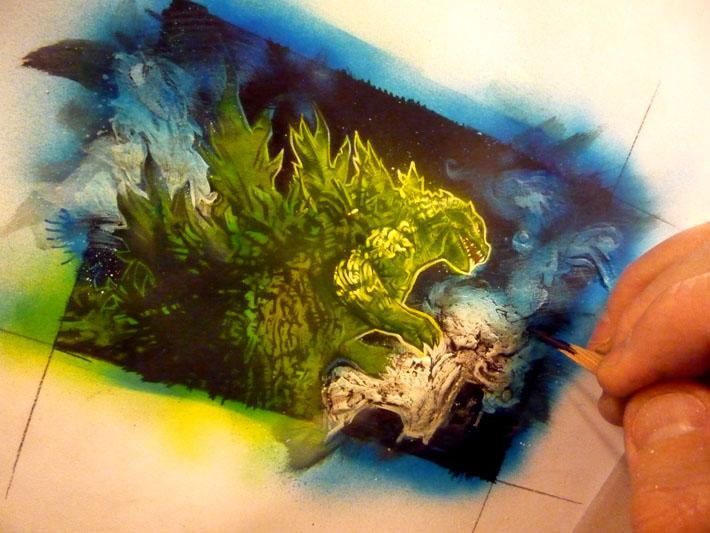 Godzilla sketch card, work in progress, © 2013 Jeff Lafferty