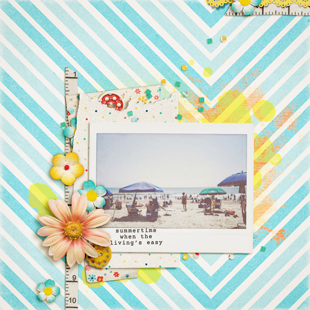 Summertime // Scrapbook Layout // Hello Summer by Zoe Pearn // Fuji Instax Wide