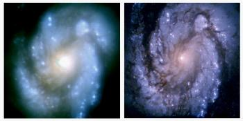 HST image of M100, before and after service mission 1