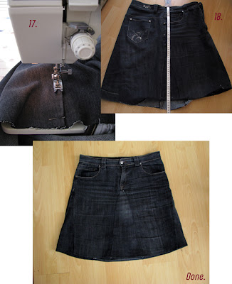 skirt out of old jeans/reconstruction part 5