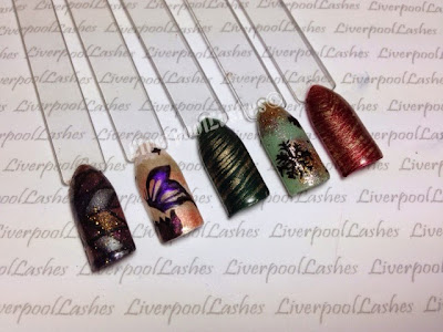 liverpoollashes liverpool lashes shellac nail art brush snowflake green red gold cnd additives