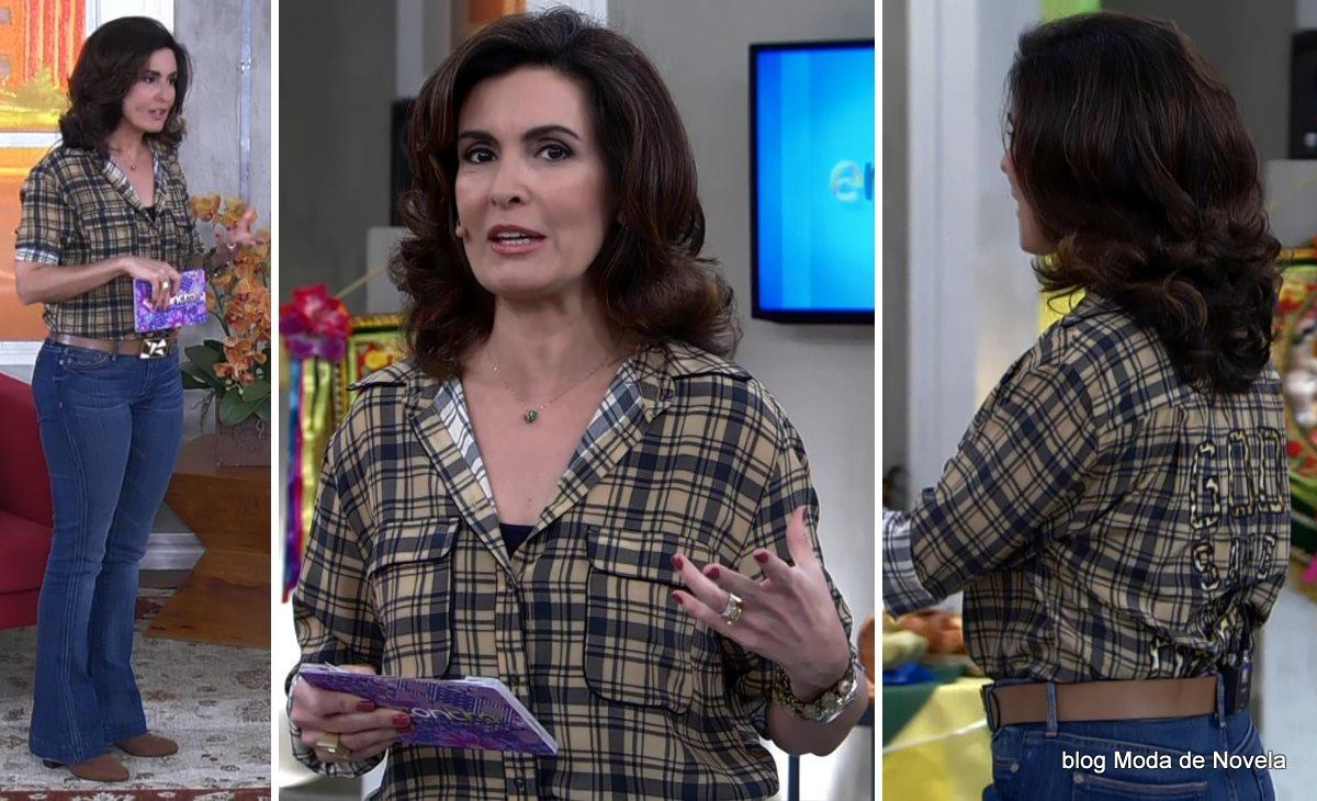 moda do programa Encontro - look para festa junina da Fátima Bernardes dia 27 de junho