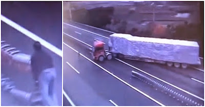 Camionista faz inversão de marcha em autoestrada na China