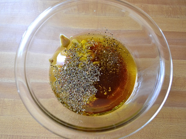 vinaigrette ingredients in mixing bowl