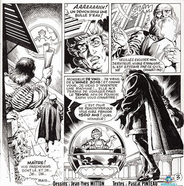Page 3 de la BD Leonard de Vinci vendue a Mirapolis