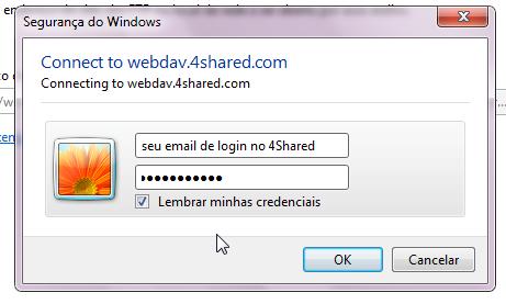 Faça seu login no 4Shared nessa janela