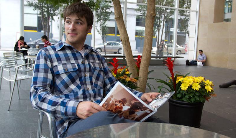 Blue Flannel reading magazine