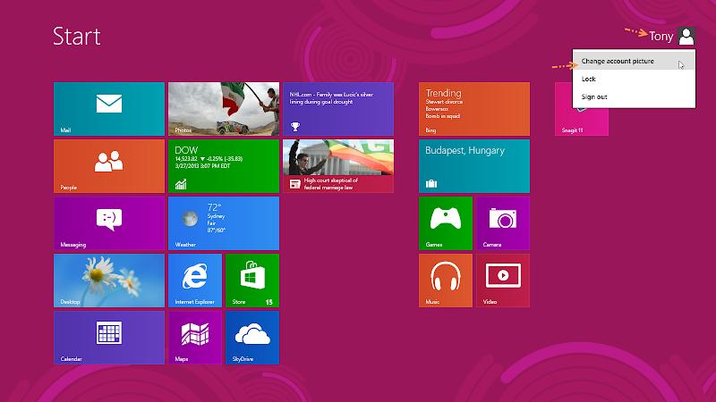 การเปลี่ยนรูปภาพของผู้ใช้ (User Account Picture) ใน Windows 8 W8acpic01