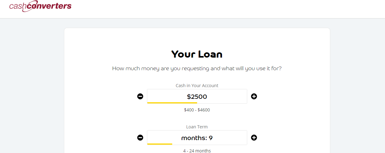 submitting cash converters application loan form