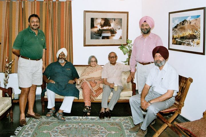 Rajbirinder Chahal, H Kishie Singh, Mrs Urmila Gupta and Dr R K Gupta, Roopinder Singh and Daldeep Singh at  Roopinder Singhs house in Chandigarh.