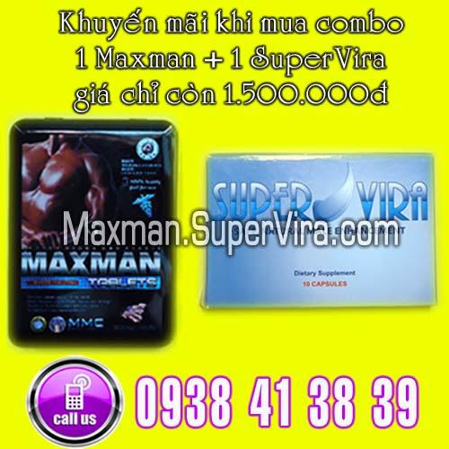 Maxman 3800mg khuyến mãi đặc biệt Combo 1 SuperVira + 1 Max man giá chỉ có 1.500.000đ