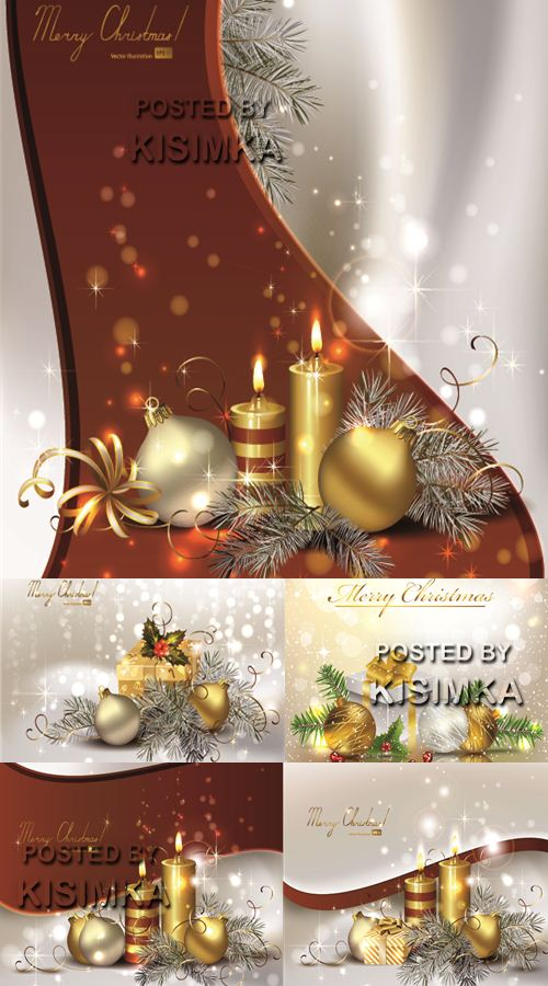 Christmas background with burning candles and ball