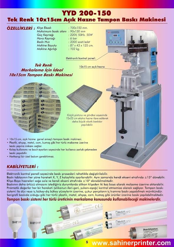 8-YYD 200-150 Tek Renk 10x15cm Açık Hazne Tampon Baskı Makinesi