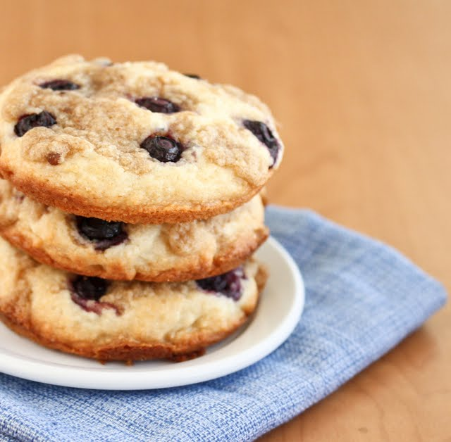 close-up photo of a stack of Blueberry Coffee Cake Cookies