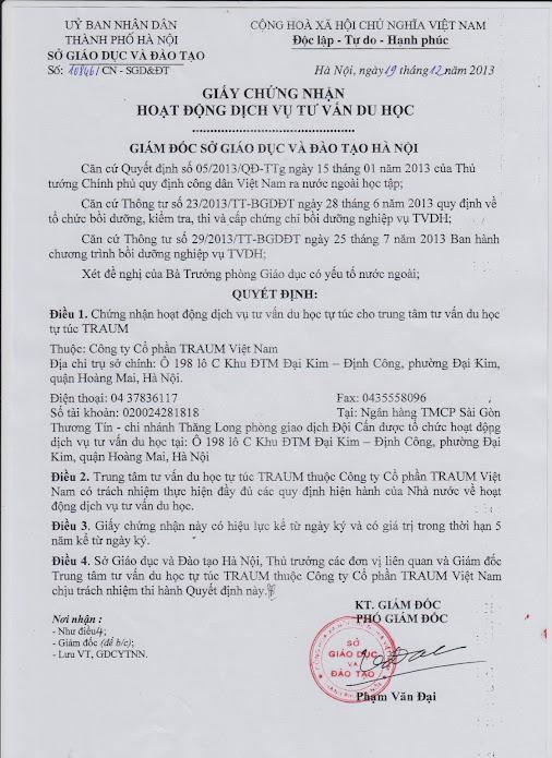 Giấy phép tư vấn du học Traum Việt Nam