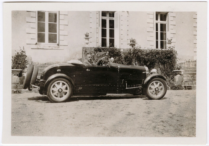 Playwright Eugene O'Neill in a racing Bugatti