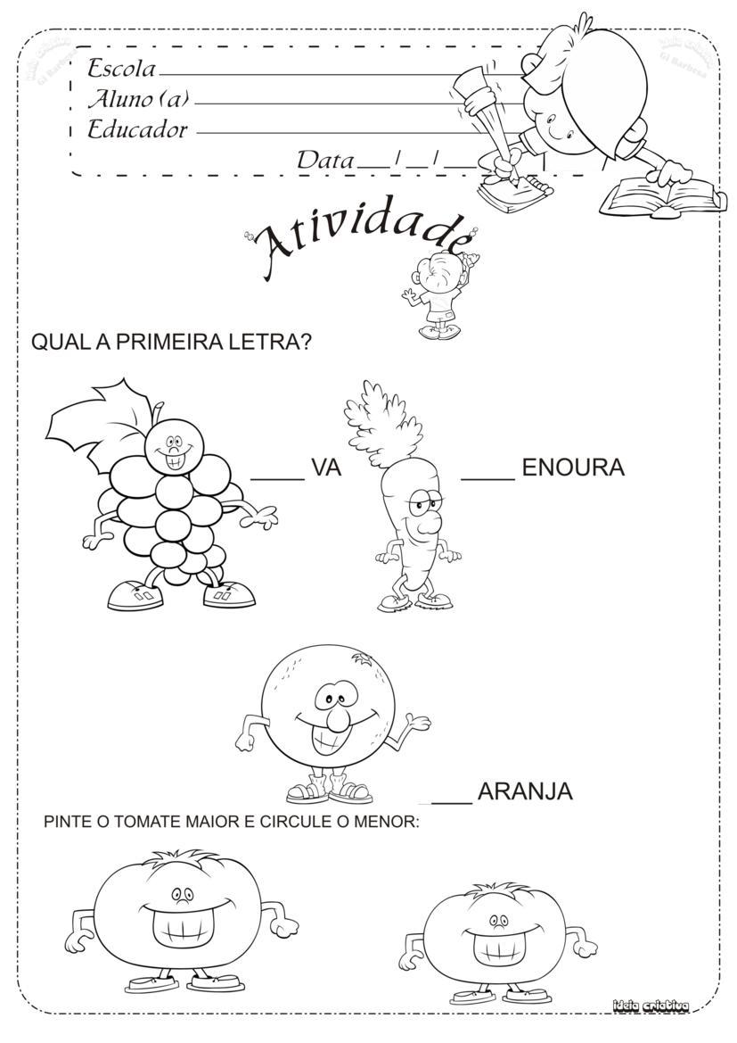 Preferência Atividade Projeto Alimentação Educação Infantil Letra Inicial  PA96