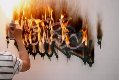 Graffiti Wall Art: Smoldering fire of graffiti Letter