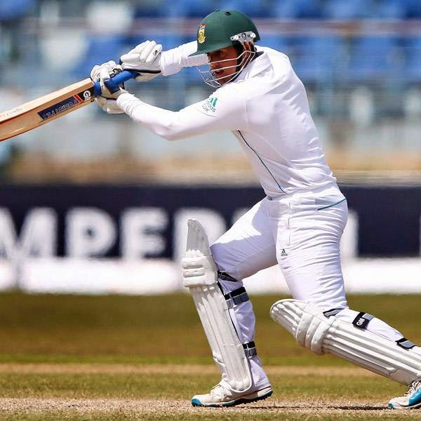 South Africa's Quinton de Kock plays a shot during the fourth day of their first test cricket match against Sri Lanka in Galle July 19, 2014.