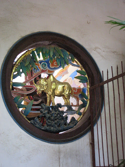 Golden rhinoceros relief symbolizes the founding symbol of the Bamboo Monastery, Kunming