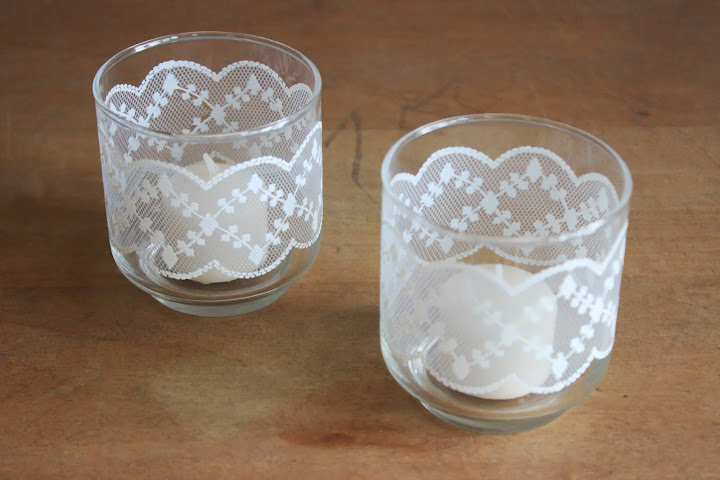 Lace votives from the rental inventory of www.momentarilyyours.com, $1.50 each.