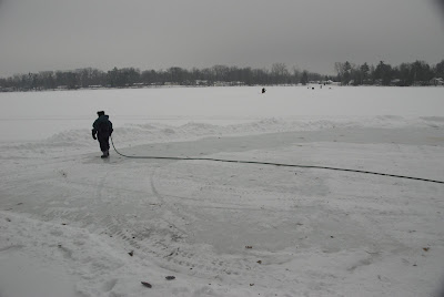 grooming our lake ice rink