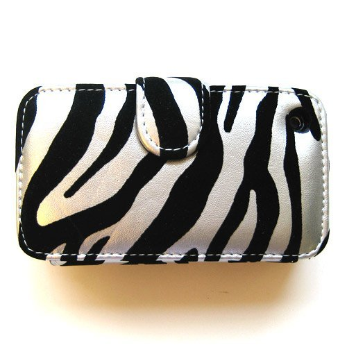 Apple iPhone 3G  &  3GS Premium Protector Leatherette Horizontal Cradle Case Black  &  Silver Zebra with Belt Clip