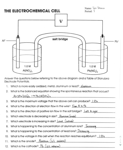 Worksheets Electrochemistry Worksheet electrochemical cell battery worksheet answers intrepidpath worksheets