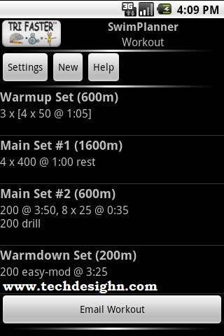 Swim Planner android app