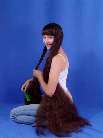 brushing very long hair Rapunzel Long locks plaits hairstyle pictures from Hairdressers