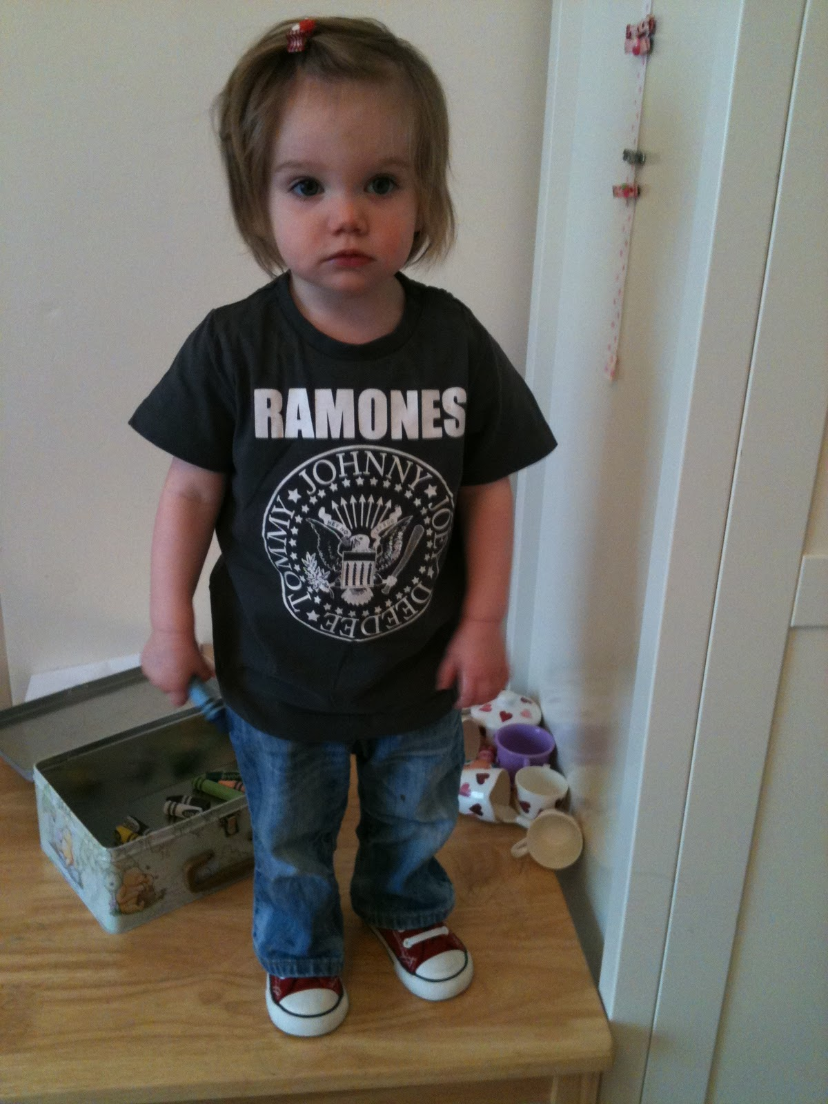 Child named Daisy wearing Ramones t-shirt